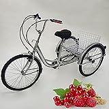Triciclo para Adultos de 24 Pulgadas, Bicicleta de 3 Ruedas, Bicicleta de Pedales para Ancianos con Canasta de Compras y Luces, Triciclo para Discapacitados, Adecuado para Compras, Deportes (Plata)
