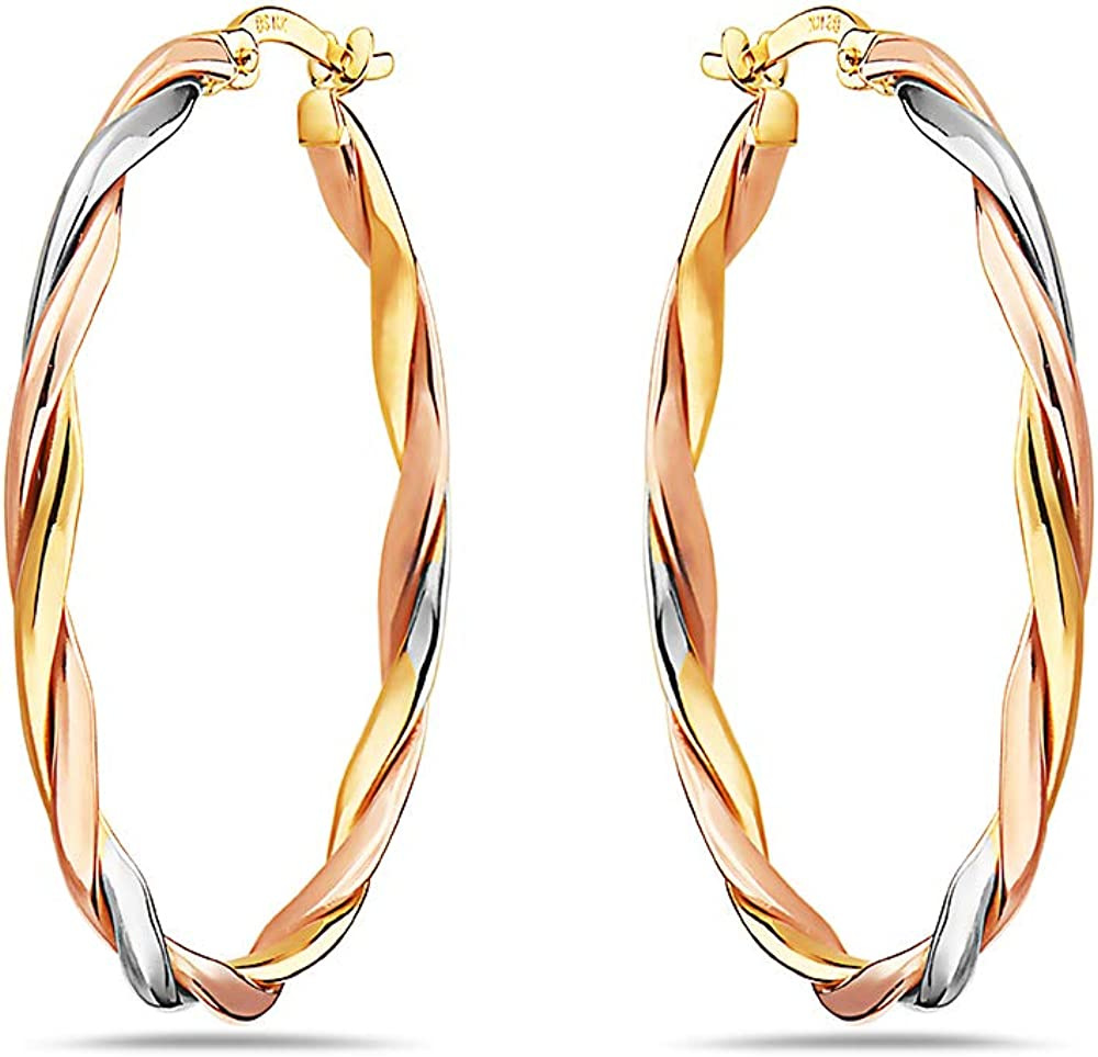 Pori Jewelers 14K Solid Gold Twisted Braided Hoop Earrings - 3 Tone Color Yellow, White, Rose