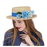 JDON-HAT, 2018 Femme Homme Chapeau de Fleuriste. Le Fascinator De Paille De Chapeau Plat Top Amerie avec Bouquet De Mariage De Fleur en Ivoire (Couleur : Naturel, Taille : 56-58cm)
