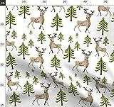 Wald, Hirsch, Winter, Junge, Mädchen, Grün, Braun Stoffe