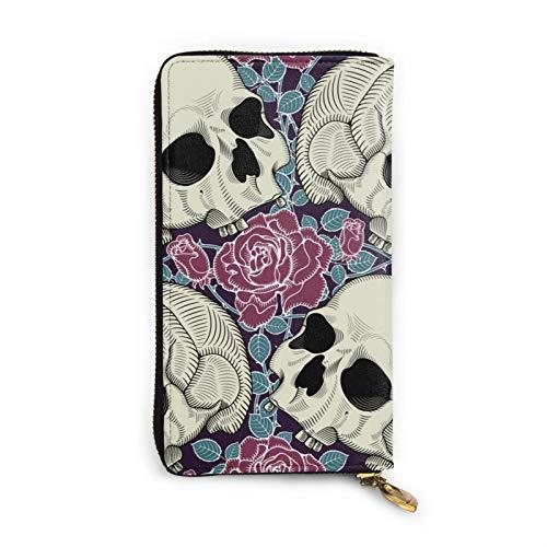 Billetera larga de piel con diseño de calavera, diseño de rosas para Halloween, resistente al agua, cartera de lujo para tarjetas con cremallera alrededor de un tamaño grande