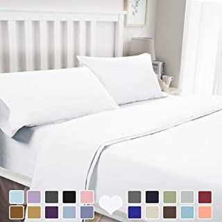 BYSURE 4 Piece Luxury Bed Sheet Set (Queen,White) - Ultra Soft 1800 Thread Count Double Brushed Microfiber, Deep Pockets, Wrinkle & Fade Resistant Cooling Bedding