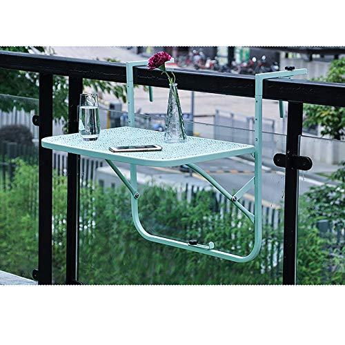 NBXLHAO Mesa Colgante para BalcóN, Mesa De BalcóN Acoplable, Mesa De JardíN Plegable para BalcóN, 60 X 40 Cm, 3 Niveles, Ajustable, Estable,Green
