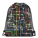 Jhonangel Abstract Urban Traffic Lightweight Waterproof Drawstring Bag Sport Gym Saco Bolsas Mochila para Hombres Mujeres Niños 36 x 43 cm / 14.2 x 16.9 Pulgadas