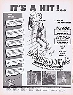 Harold Lloyd World of Comedy 1962 ORIGINAL Vintage 9x12 Industry Ad