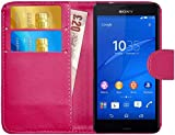 gizzmoheaven Sony Xperia Z3Compact Funda de piel Carcasa Funda Con Tarjeta Soporte Case Carcasa para Sony Xperia Z3Compact con protector de pantalla y lápiz, compatible con Sony Xperia Z3 Compact, color rosa