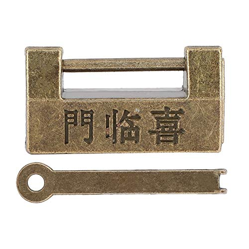 Vintage chinesischen Stil Mini Kupfer Vorhängeschloss horizontale Verriegelung für Schmuckschatulle schützen Halsketten, Armbänder und Ringe an Ohrringe und Uhren Schmuck Organizer