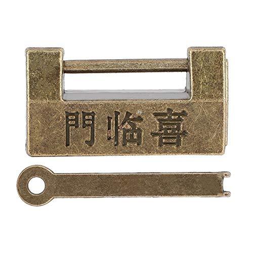 Vintage Chinese stijl hangslot Antiek Mini Koper Antiek Brons Hangslot Horizontaal slot voor juwelendoos Cabinest Cases Dozen Laden