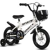 Bicicleta de equilibrio para los 2-6 años, 12' y 14' bicicletas con ruedas de entrenamiento de los niños y los pedales, neumáticos de caucho inflable del asiento y manillar ajustable,Blanco,14inch