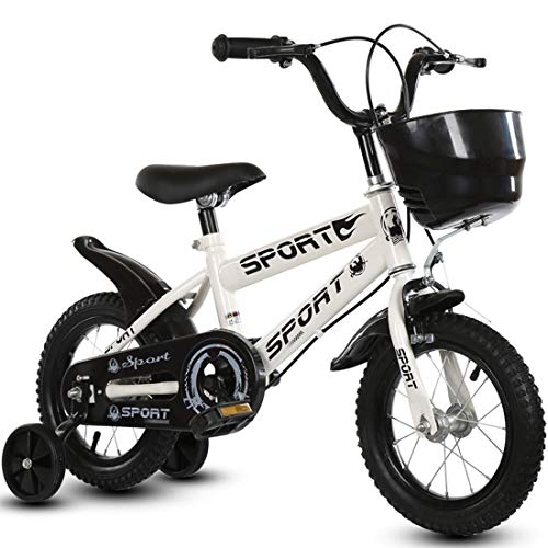 Bicicleta de equilibrio para los 2-6 años, 12' y 14' bicicletas con ruedas de entrenamiento de los niños y los pedales, neumáticos de caucho inflable del asiento y manillar ajustable,Blanco,12inch