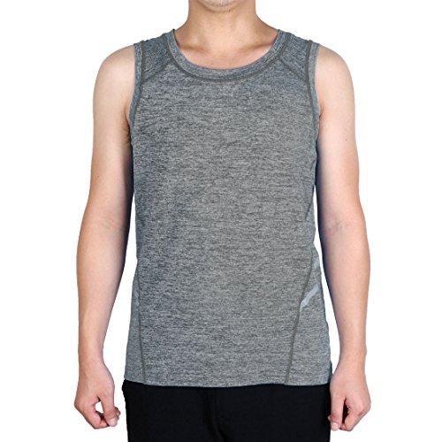 Sourcingmap T-Shirt Homme Adulte Vite Dry sans Manche Gilet Vêtement Sport Exercice Top Gris XL