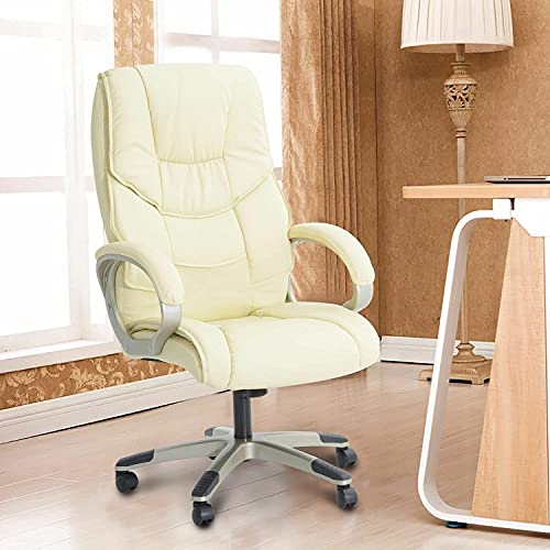 NZKW Silla de Oficina de Cuero PC Sillas de Escritorio para computadora Altura Ajustable giratoria - Crema