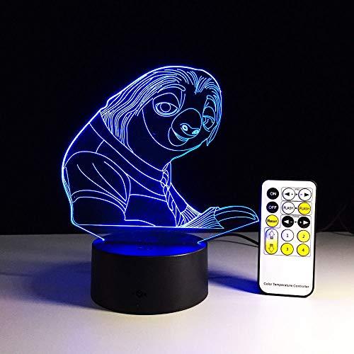 Lámpara de mesa 3D variable tridimensional colorida lámpara de bombilla de control remoto ilusión perezosa USB LED creativo   Lámpara de mesa pequeña 3D de regalo de luz visual