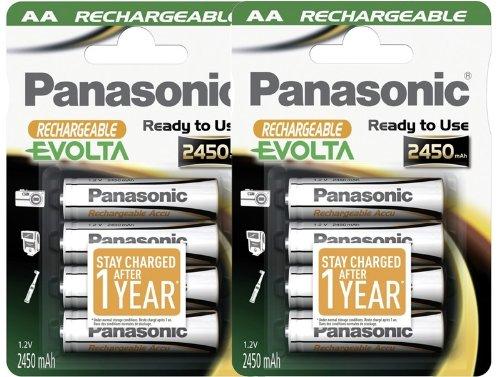 Panasonic P03E Evolta HHR-3XXE AA-Akkus (geladen und betriebsbereit, 2450 mAh, NiMh) 8 Stück