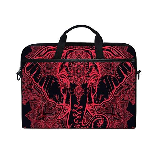 EZIOLY Floral Paisley Elephant Head Laptop Shoulder Messenger Bag Case Sleeve for 13 Inch to 14 inch Laptop
