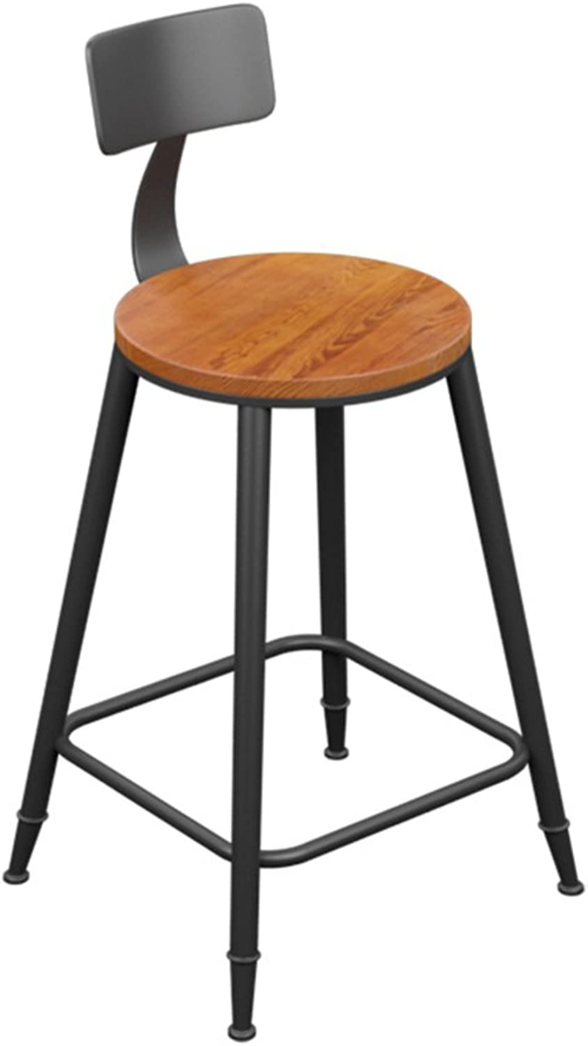 Nationwel@ Bar Stool - Vintage Wood Wrought Iron Bar Chair Bar Stool Simple High Stool Backrest Front Desk Chair (Multiple (Size   40  40  88cm)