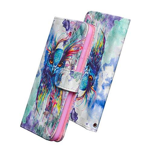 WIWJ Handyhülle für Samsung Galaxy A51 Hülle Flip - Aquarell Eule 3D Gemalt Leder Wallet Case Schutzhülle für Samsung Galaxy A51 Tasche,Handy Hüllen mit Magnetschnalle Tragegurt Handytasche