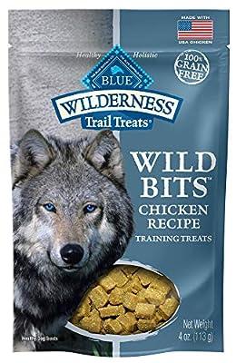 Blue Buffalo Wilderness Trail Treats Wild Bits Grain Free Soft-Moist Training Dog Treats, Chicken Recipe 4-oz bag