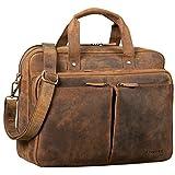 STILORD 'Remus' Ledertasche Umhängetasche Leder Aktentasche Groß 15,6 Zoll Laptoptasche Abnehmbarer Schultergurt Lehrertasche, Farbe:mittel - braun