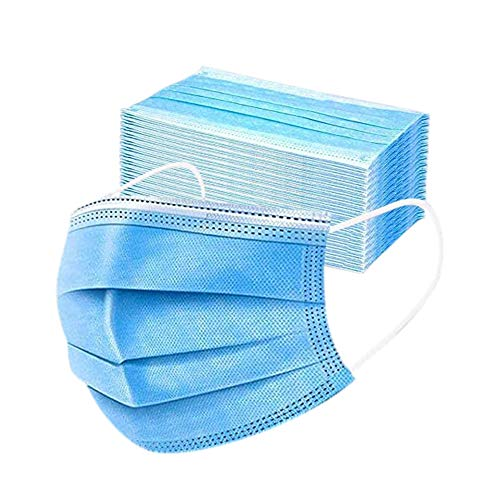 50PCS 3-ply Disposable Face Mask Elastic Earloop Mouth Cover Face Masks Anti Spittle Dust Blue