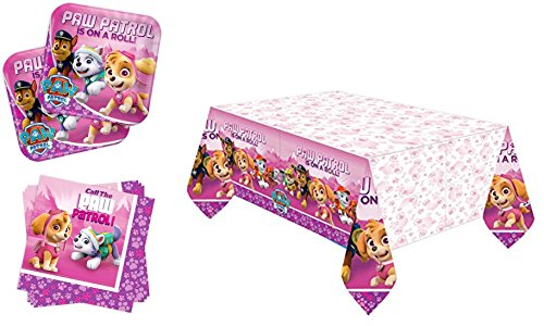 Geburtstag/Motto Party Paw Patrol/Dekoration- Servietten, Tischdecke, große Teller - 29-teiliges Party-Set - T8 Kinder - Pink (PP02)