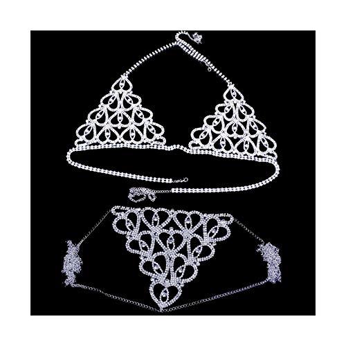 Jacky's Cadena cristalina Cuerpo Sujetador Accesorios Ropa Interior for Mujeres de la Cadena del corazón del Rhinestone joyería del Cuerpo de la Ropa Interior del Club Nocturno