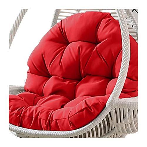 Cojín para asiento de silla con columpio, relleno de algodón, acolchado para silla de columpio, asiento de silla mecedora para silla de oficina, respaldo lumbar (color: rojo)