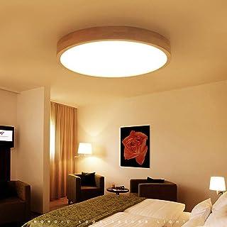 Lámpara de Madera Lámpara de Techo LED Regulable con Mando a Distancia Plafón de Madera Redonda Luces de Salón Lámpara de Dormitorio Lámpara de Comedor Color de Luz y Brillo Ajustable,Ø40cm20w