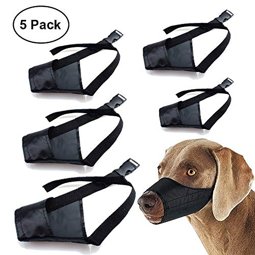 Barkless Dog Muzzle Nylon Set(5 in 1) Adjustable Breathable Safety for Small Medium Large Extra Dog...