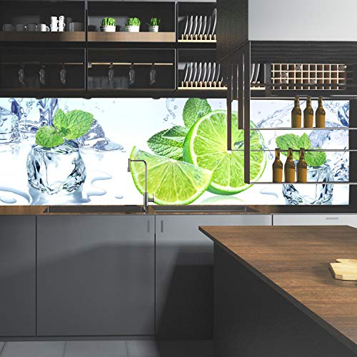 wandmotiv24 Küchenrückwand Limette EIS Pfefferminze Grün 160 x 50cm (B x H) - Acrylglas 4mm Nischenrückwand, Spritzschutz, Fliesenspiegel-Ersatz, Deko Küche M1103