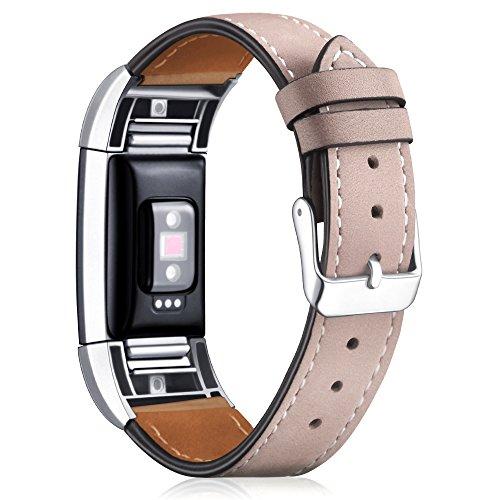 """Mornex Für Fitbit Charge 2 Armband, echtes Leder-Armbänder, Unisex-Ersatzband mit Metall Konnektoren(5,5\""""-8,1\"""") Beige"""