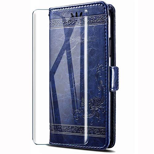 HYMY Custodia per Wiko Y80 + Vetro Temperato - Retro Elegante TPU + PU Pelle Silicone Gel Multifunzione Wallet Slot Cover Flip Stile Vintage per Wiko Y80 (5.99') -Blu
