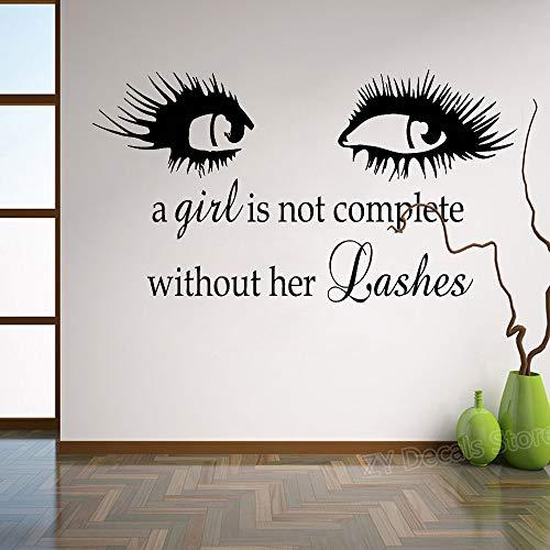 JXWH Wimpernpflege Wandaufkleber Wimpernverlängerung Augenbrauen Augenbrauen Vinyl Aufkleber Wandbild Schönheitssalon Wohnzimmer Wohnkultur 91,2x50,4 cm