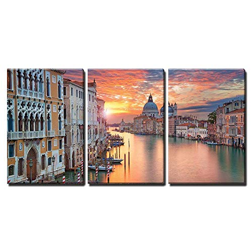"""wall26 - 3 Piece Canvas Wall Art - Venice. Image of Grand Canal in Venice, with Santa Maria Della Salute Basilica - Modern Home Art Stretched and Framed Ready to Hang - 24""""x36""""x3 Panels"""
