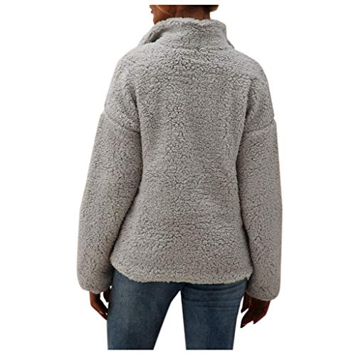 Feytuo Damen Plüschjacke Nachgemachte Kaschmir Warme Teddy-Fleece Jacke Mantel mit Reißverschluss für Herbst Winter