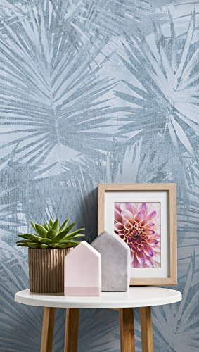 Livingwalls Vliestapete Hygge Tapete im Palmenprint in Dschungel Optik 10,05 m x 0,53 m blau grau Made in Germany 363855 36385-5