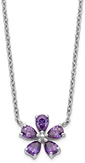 925 Sterling Silver Purple Cubic Zirconia Cz Flower Chain Necklace Pendant Charm Floral Fine Jewelry Gifts For Women For Her