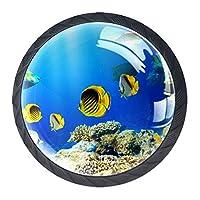 ドレッサー引き出し用キャビネットノブ4本ホームオフィス用キャビネットハンドルプル食器棚水中魚珊瑚