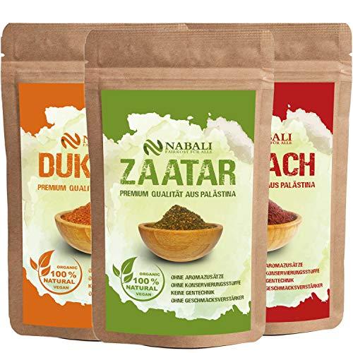 NABALI FAIRKOST FÜR ALLE Zaatar & Dukkah & Sumach Qualitätsware aus Palästina I 100% naturell aromatisch traditionell frisch orientalisch I ohne Konservierungsstoffe I vegan (je 100 Gr)