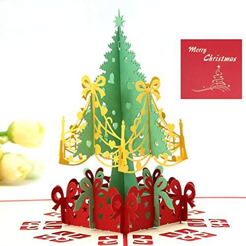Yongbest Weihnachtskarten Pop Up,3D Pop Up Weihnachtskarten Handgemachte Grußkarte mit Umschlägen für Weihnachten,Festival, Geburtstag, Danke, Jubiläum