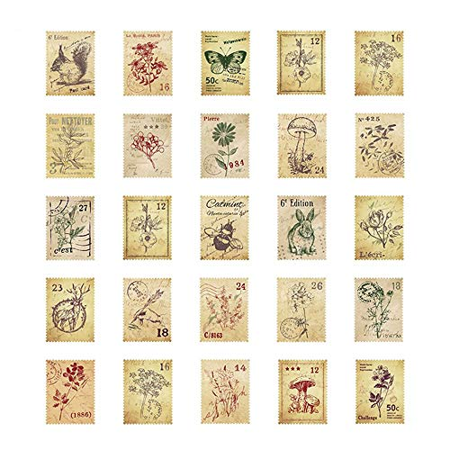 WSERE 225 Pieces Vintage Sticker Decorative Stamp Stickers for Scrapbook Envelopes Journal Diary Planner