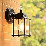 Mengjay E27 Clásico Negro Impermeable IP23 Lampara Pared Exterior Vintage Apliques de Pared Iluminación Exterior Lámpara de pared para exteriores para Jardín Balcón Patio