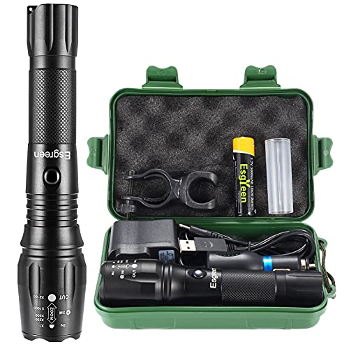 Rechargeable Flashlights High Lumens, Esgreen High Power Tactical L2 LED Flash Lights, Most Powerful Bike Torch,for Police Camping Hunting, 18650 Battery/Car Charger /USB Cable/ Mount/Gift Box