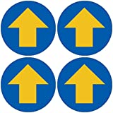 「円形・黄色矢印」 床や路面に直接貼れる 路面表示ステッカー 各100X100mm 4枚組