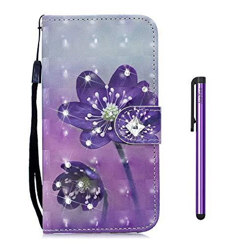 JapTon für Xiaomi Mi 5X / Mi A1 Hülle, Bling Glitzer Glitter Handyhülle im Brieftasche-Stil [3D Gemalte Serie] PU Leder Flip Tasche Wallet Tasche Handytasche Cover Etui Hülle (Blume)