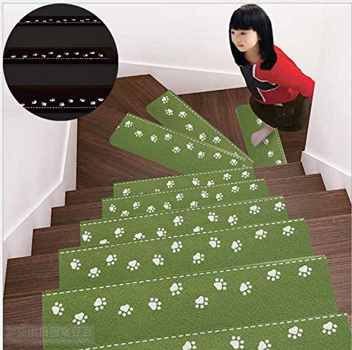 Marbeine Leucht-Teppich, Treppenstufen, beleuchtet, selbstklebend, ohne PVC-Kleber, Rutschfest, 5 Stück grün
