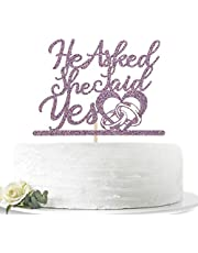 Purple Glitter He Asked She Said Yes Cake Topper for Engagement/Wedding/Bride to Be/Groom to Be/Bridal Shower/Valentine's Day Party Decorations
