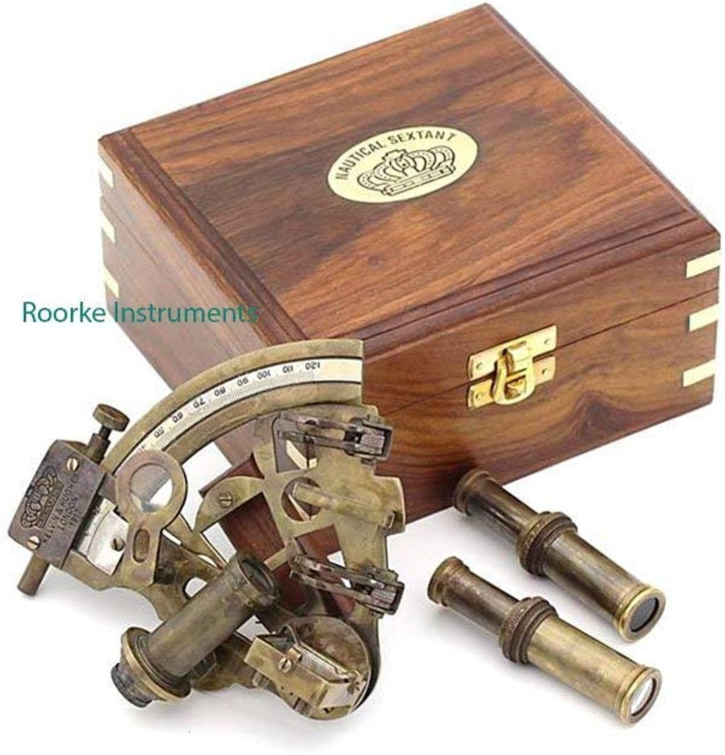 Roorkee Antique Sextant for Navigation Marine Brass Sextant Instrument for Ship  Celestial & Nautical Sextant with Two Extra Sighting Telescope Astrolable Sextant Tool with Wooden Box Case