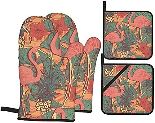 Flamingos - Juego de guantes y soportes para horno de piña tropical, resistentes al calor, guantes antideslizantes para horno de cocina para parrilla, cocinar, hornear, barbacoa, microondas
