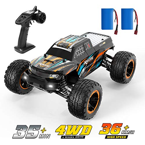 DEERC RC Cars Fast Remote Control Car for Boys Adults 1:16 Scale 23+ MPH High Speed 4x4 RC Trucks with LED Lights,2.4GHz All Terrain Offroad Truck with 2 Battery,35+ Min Play, Gifts for Kids Adults